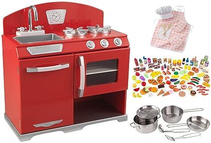 KidKraft Red Retro Vintage Kitchen W/Metal Cookware Food Pieces U0026 Pink Chef  Set
