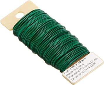 Elcoho 2 Roll Green Florists Wire Flexible Paddle Wire for DIY Crafts Flower Bouquets and Floral Arrangements Wreaths Christmas Garland