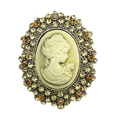 TOOKY Vintage Crystal Resin Cameo Queen Lady's Brooch Jewelry For Wedding nTMiuPcjl