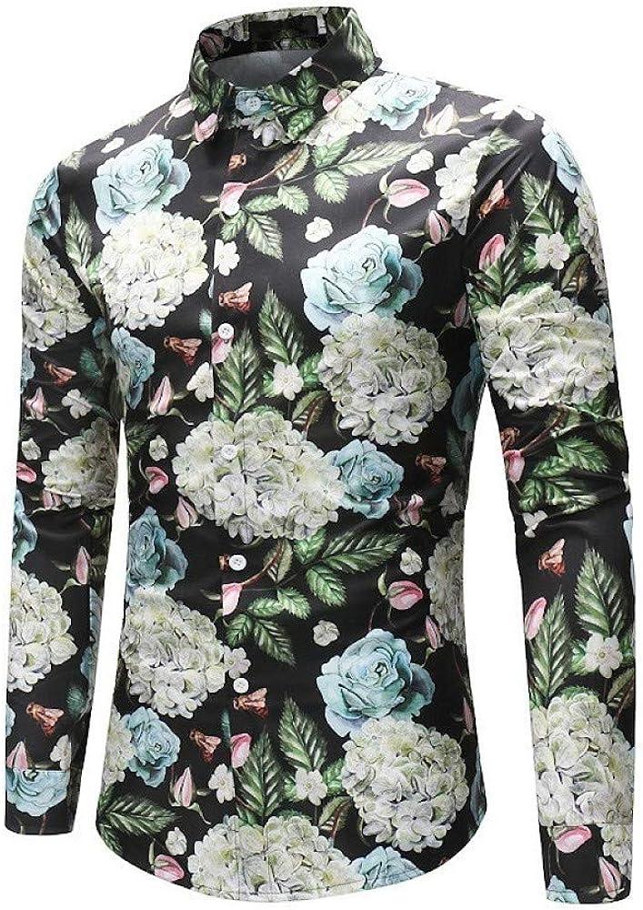 Loeay Spring New Menflower Camisas Estampadas Hombre Slim Fit Camisa Estampada Floral de Manga Larga Hombres Camisas de Fiesta Tops 1 M: Amazon.es: Ropa y accesorios