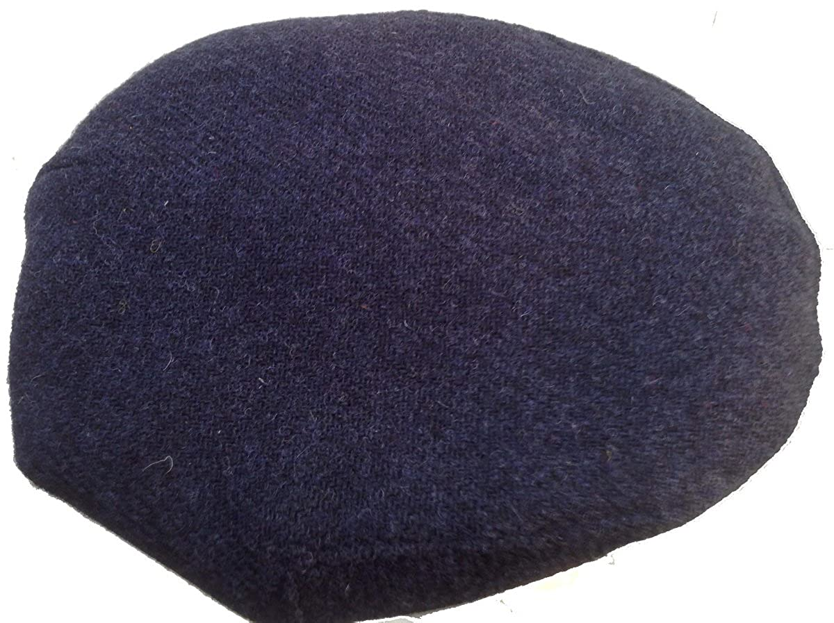 Made in USA Flat Ivy Scally Cap Navy Blue Harris Tweed by Mac Belford