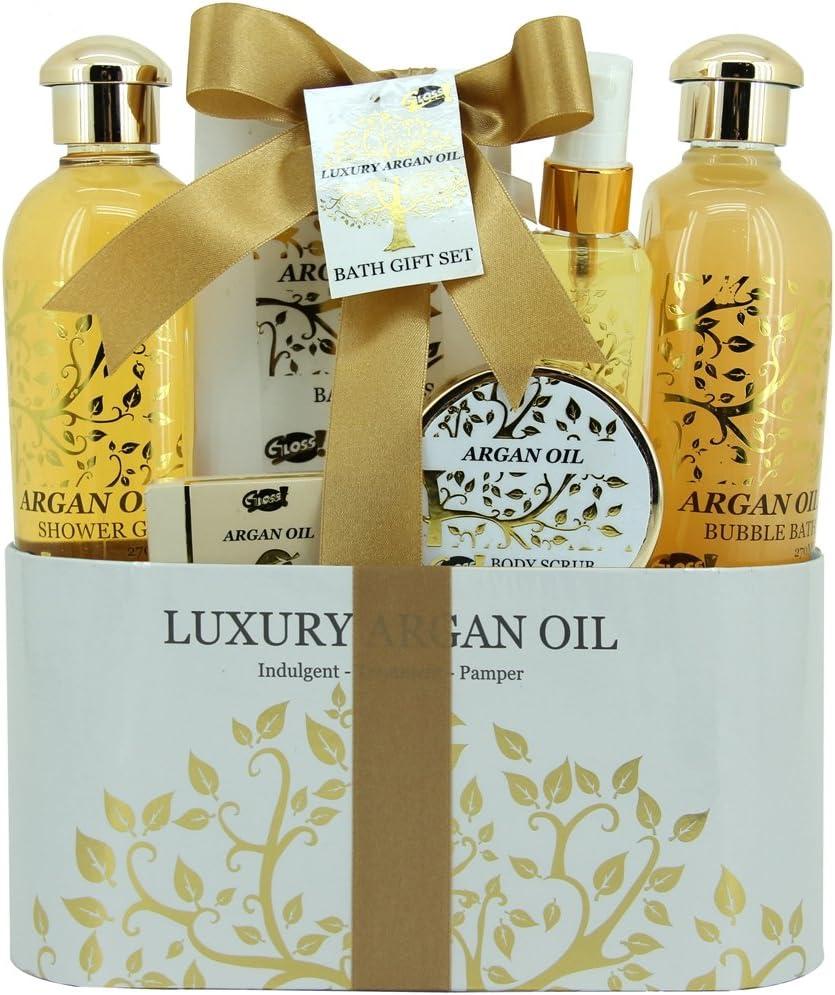 Gloss - caja de baño, caja de regalo para mujeres - Cesta de Baño Regalo - Argan Oil