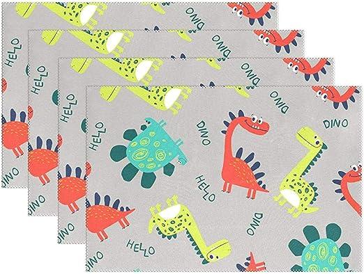 Juego de 4 alfombrillas de mesa Dinosaurio de dibujos animados Rojo Azul Amarillo Hello Dining Mat Lavable antideslizante Aislamiento Resistente a las manchas Manteles para mesa de comedor 12inx18in: Amazon.es: Hogar