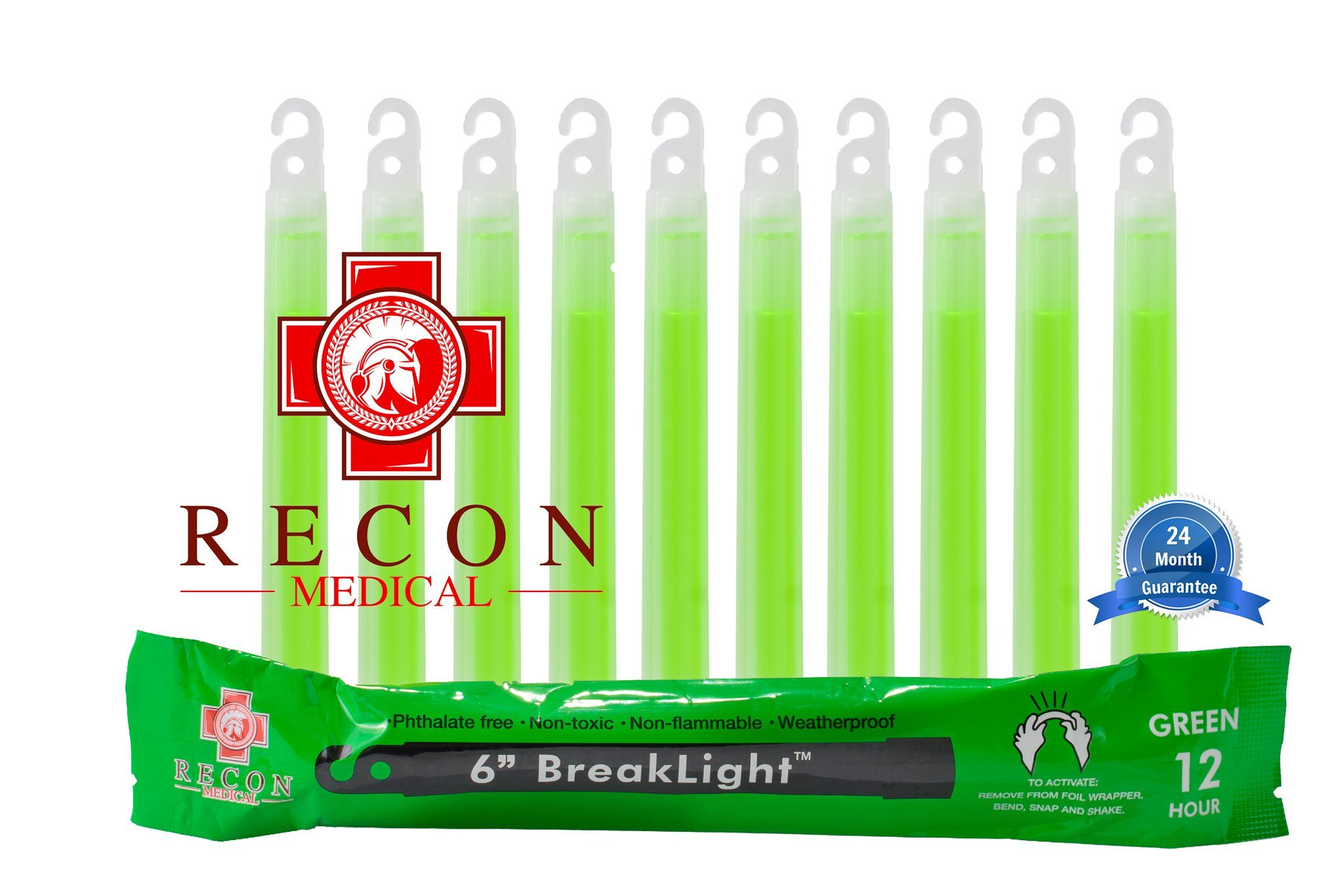 10 Pack (GREEN) Tactical BreakLights- Recon Medical, 6 Inch, Ultra Bright, First Aid Kit, Hexagon Shape, Ultra Bright Glow Sticks Emergency Light Sticks, Over 12 hour burn time