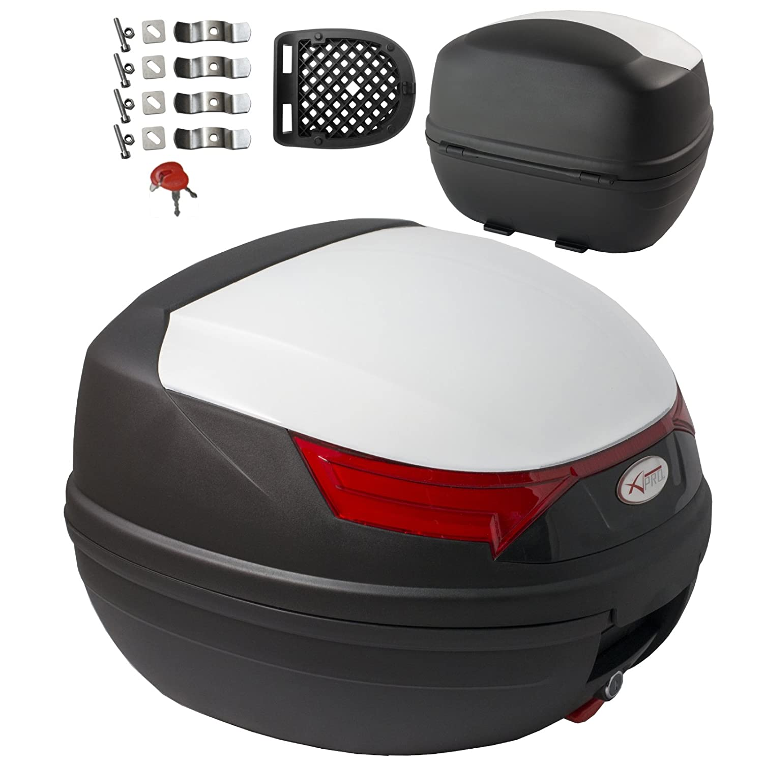 A-pro Top Case Motocicleta luz de Freno Top Box malet/ín Motocicleta Scooter Quad 32 L Plata