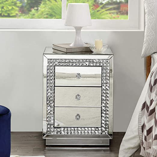 Silver Bonnlo Mirrored Bedside Table Luxurious Glass Cabinet With 3 Drawers Storage furniture and Crystal Handles Bedroom Furniture