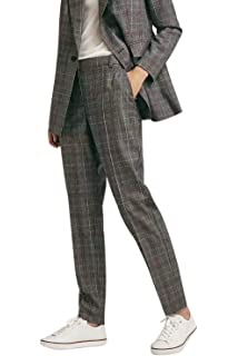 ZHRUI A Cuadros de Cintura elástica para Mujer Pantalones Sueltos de ... 7a65a869e1e6