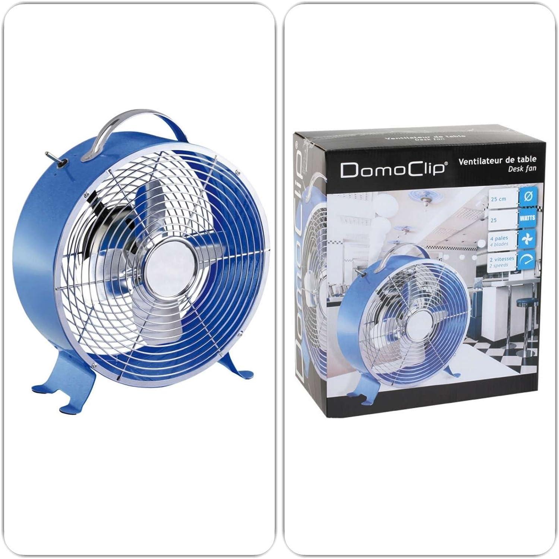 Ventilateur de table au style rétro avec poignée Bleu (2