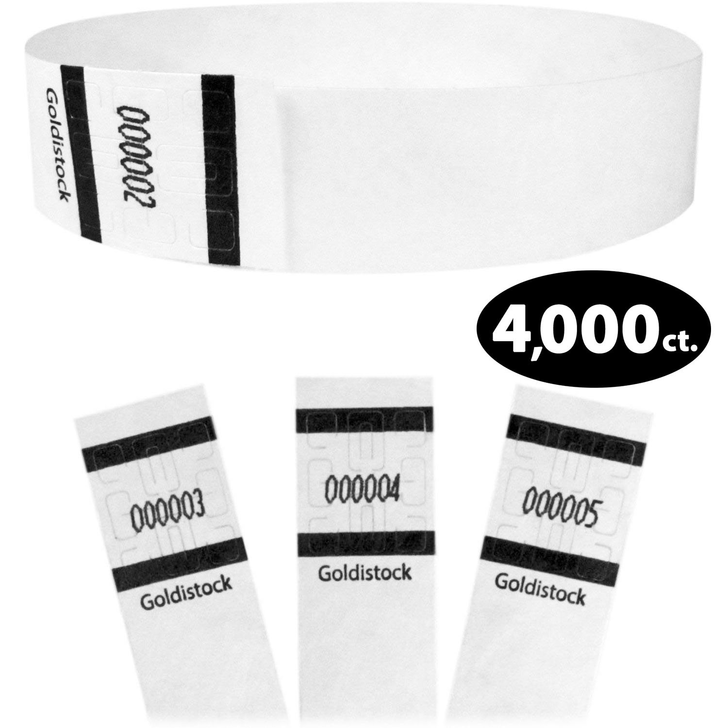 Goldistock Original Series - 3/4'' Tyvek Wristbands Formal White 4,000 Count Value Pack - Event Identification Bands (Paper - Like Texture)