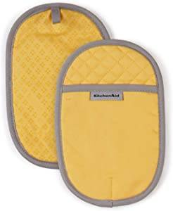 KitchenAid Asteroid Cotton Pot Holders with Silicone Grip, Set of 2, Buttercup
