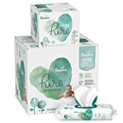 Pampers Pure Protection Diapers, Size 1 198 Count with Aqua Pure 6X Pop-Top Sensitive Water Baby Wipes - 336 Count