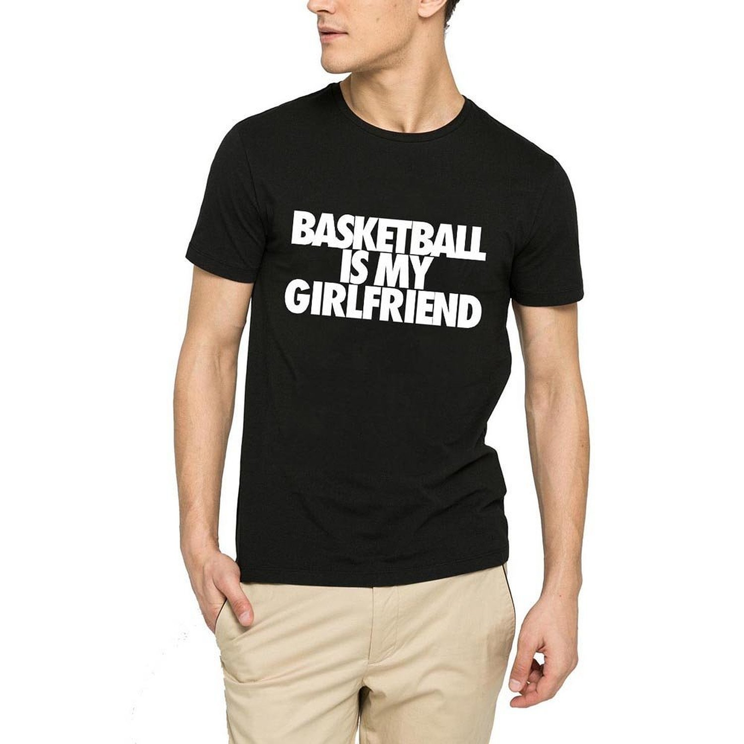 Loo Show Mens Basketball is My Girlfriend Funny Black T-Shirt Tee-TD