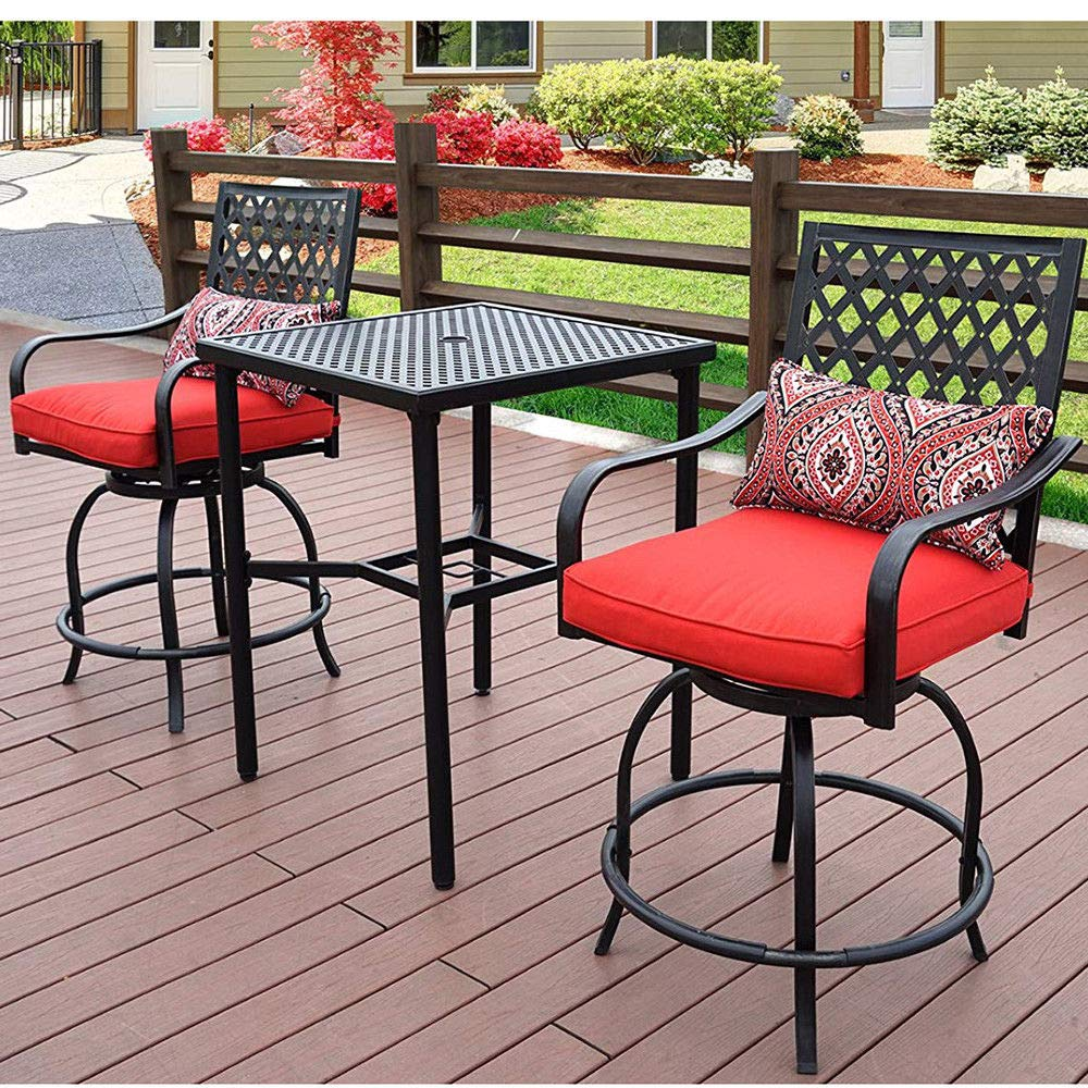 Patio Time Outdoor Furniture 3 Pcs 360 Degree Rotation Swivel Bar Stools with Square Table, Patterned Pillow, Red Seat Cushion