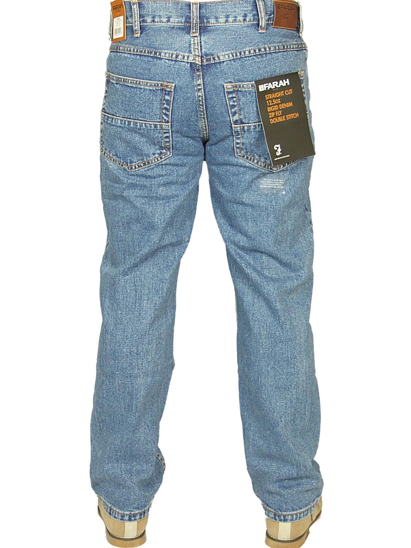 Farah Mens New Denim Jeans Straight Leg in Indigo Dark WASH Colours Sizes 30 46