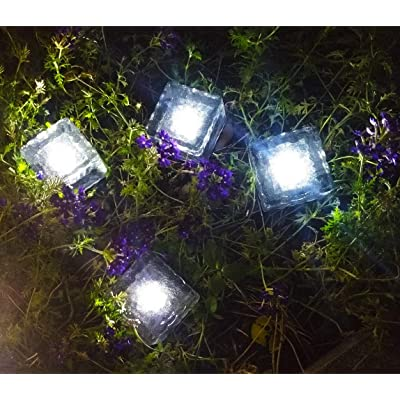 Solar Brick Lights Solar Ice Cube Light Brick Rock Lamp Frosted Glass Landscape Led Lights for Garden Path Patio Outdoor Decoration 4PCS White