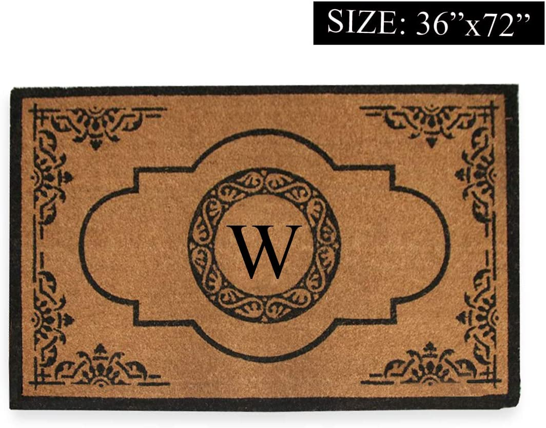 Amazon Com A1 Home Collections First Impression Hand Crafted Abrilina Entry Coir Monogrammed Double Doormat 72 L X 36 W X Large Garden Outdoor