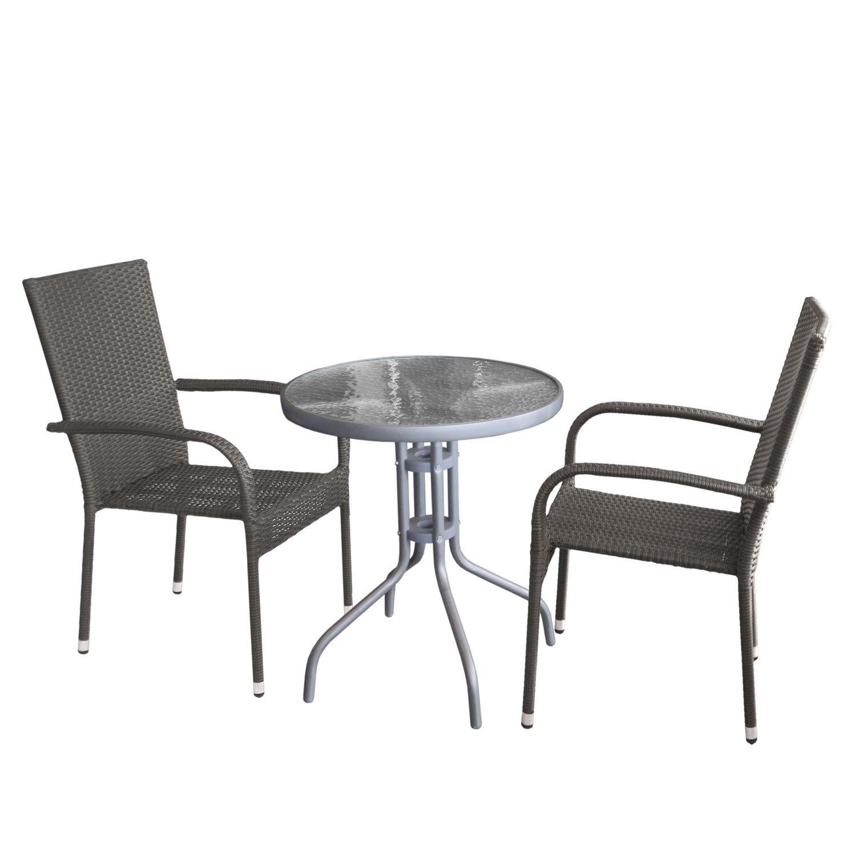 Balkonmöbel Set Bistrotisch Tischglasplatte Geriffelt Metall