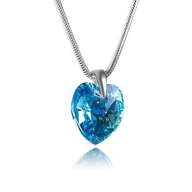 LillyMarie Damen Hals-Silberkette Sterlingsilber 925 Original Swarovski  Elements Herz-Anhänger Hell-blau Längen-verstellbar Geschenkbox Geschenk  zum ... 291cc3c75e