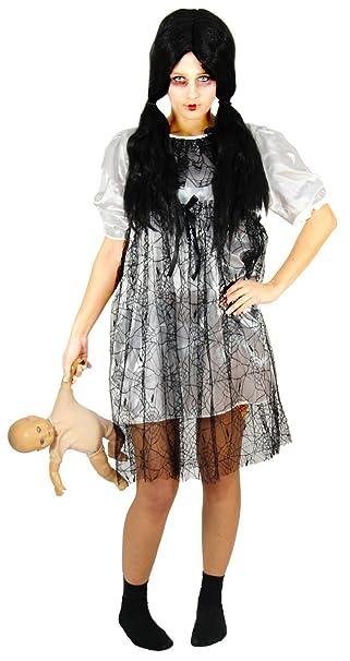 foxxeo 40173 weisses horror puppen kleid halloween kostum damen zombie geist karneval grosse s amazon de spielzeug