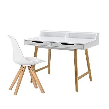 [en.casa]®] Escritorio Retro (85x110x60cm) Blanco Lacado Mate cajón con Silla Blanca: Amazon.es: Hogar