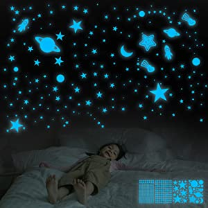 Glow in The Dark Stars for Ceiling, 359 Pcs 3D Glowing Star Removable Self-Adhesive Wall Decals, Moon, Rocket and Planets Wall Stickers for Girls Boys Kids DIY Bedding Room Bedroom Décor (Blue)