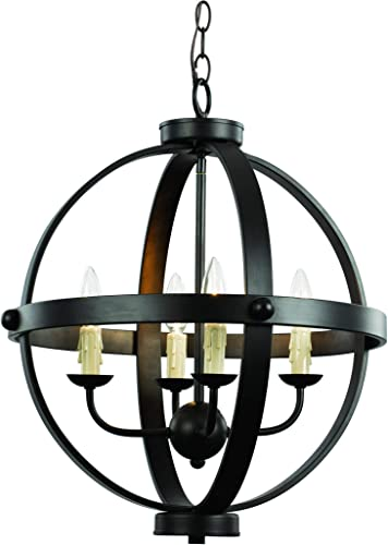 Trans Globe Lighting Trans Globe Imports 70594 ROB Rustic Four Light Pendant from Laurence Collection Dark Finish, 18.75 inches, Rubbed Oil Bronze