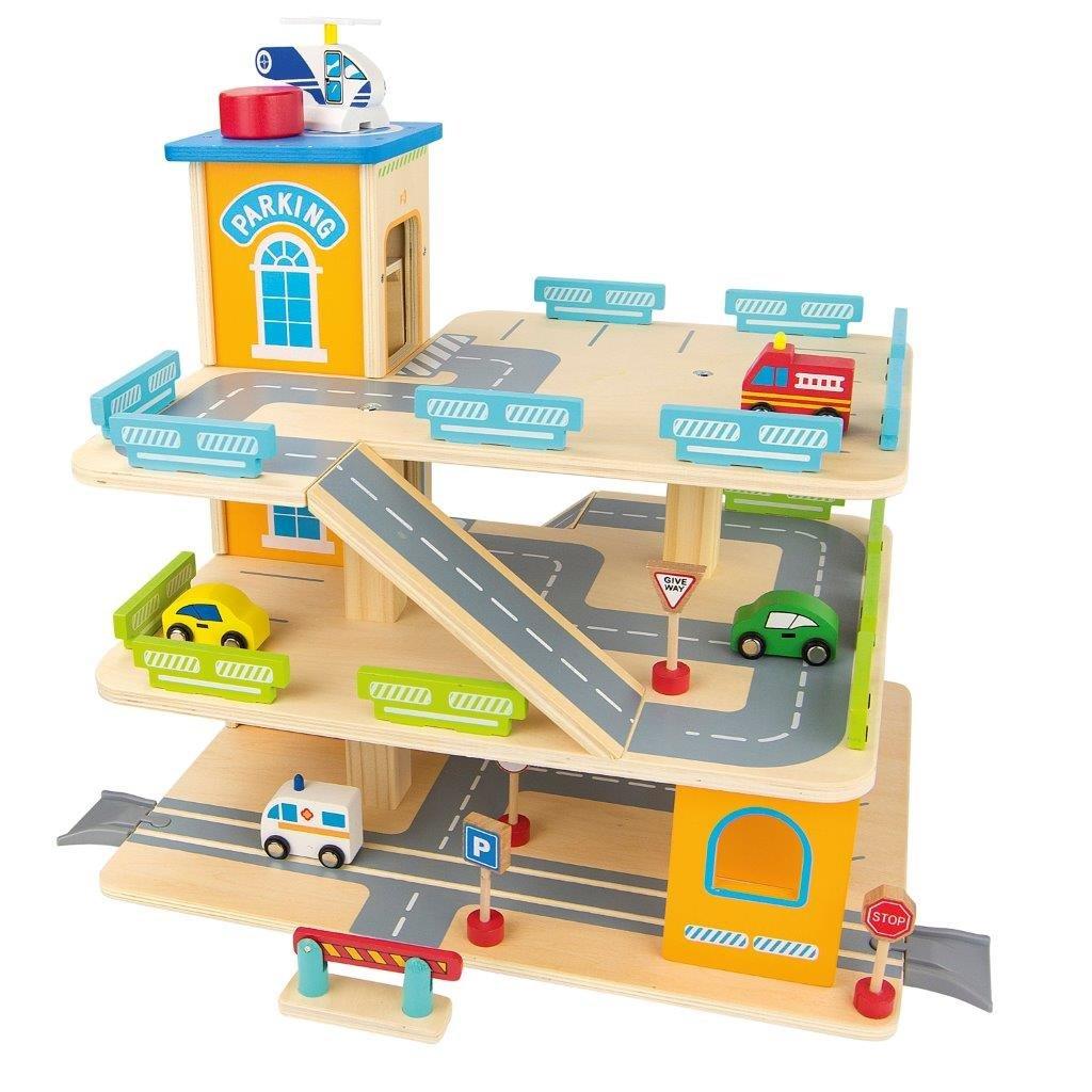Holz-Spielgarage mit einem Lift Große Parkgarage Parkhaus Auto Garage aus Holz mit Zubehör, Autos Sportwagen Holzgarage B00PSL9YNU Garagen & Werkstätten Guter weltweiter Ruf | Neueste Technologie