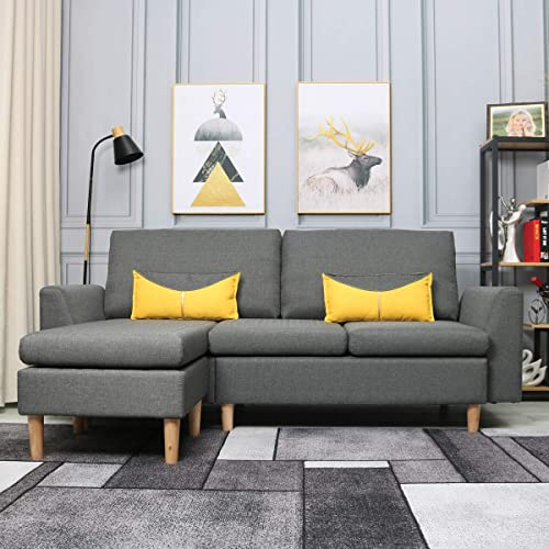 Editors' Choice: Best-Living Furniture Modern Linen Fabric L-Shaped Small Space Sectional Sofa