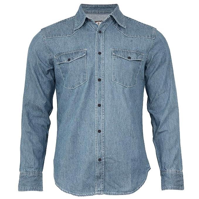 0a56881b6360 Image Unavailable. Image not available for. Color  VEZAD Denim Cotton  Double-Pocket Shirt Men Long Sleeve Blue Work Slim Fit Blouse