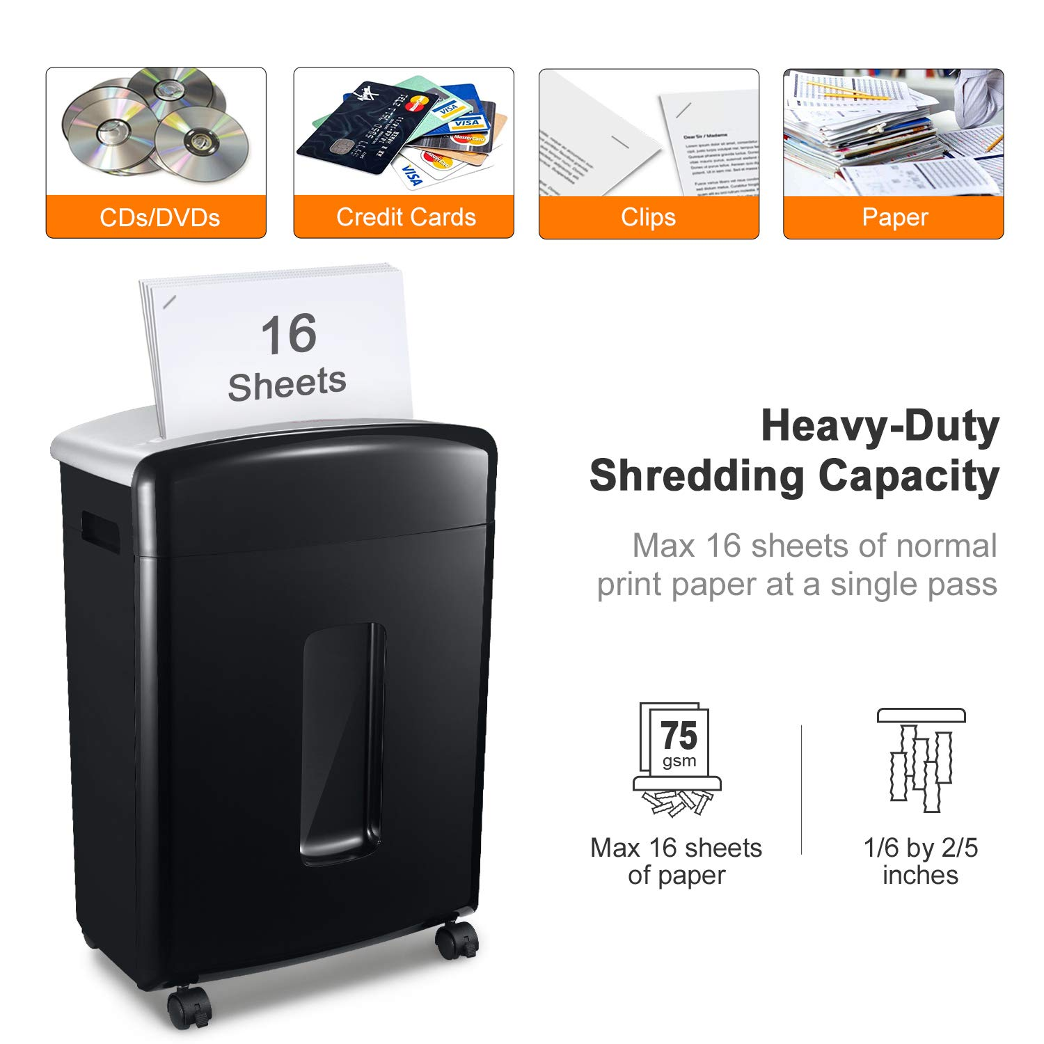 Bonsaii 16-Sheet Micro-Cut Paper/CD/Credit Card Shredder, 20 Minutes Running Time, 60 dB Low Operation Noise, 6.6 Gallons Basket and 4 Casters (C222-B) by bonsaii (Image #2)