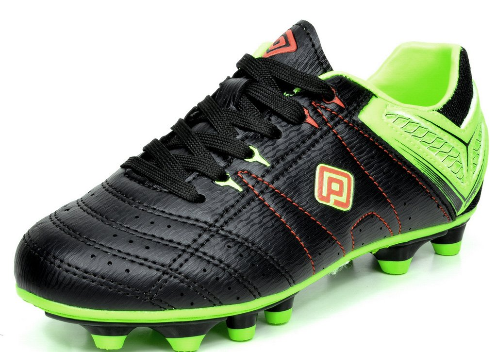 DREAM PAIRS Men's 160471-M Black L.Green Red Cleats Football Soccer Shoes - 7 M US