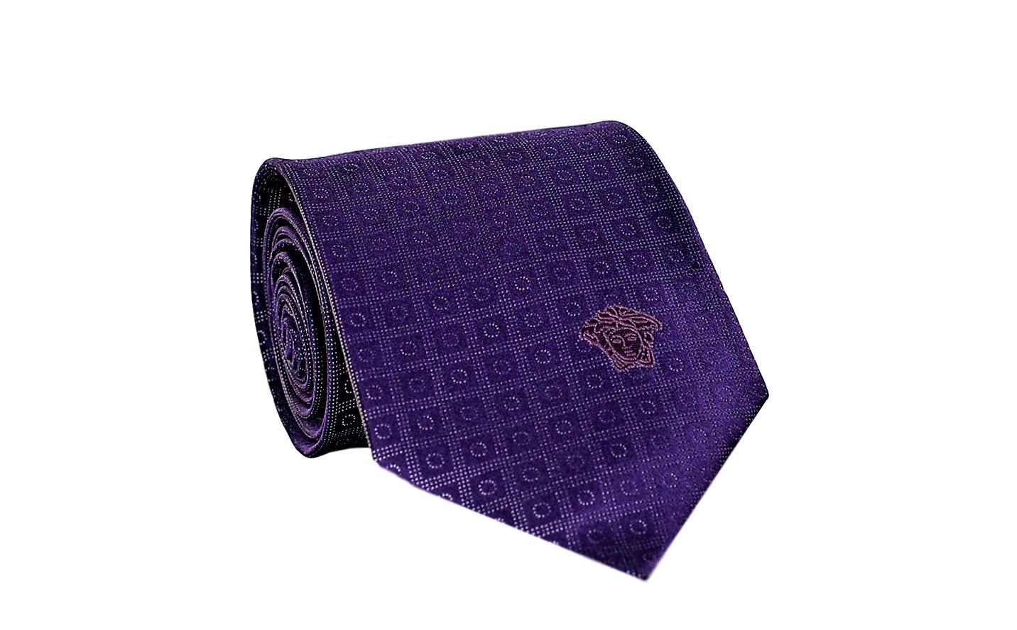 Versace Men's Geometrical Square Patterned Silk Necktie Purple-White