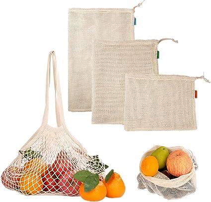 Lsgepavilion in cotone bianco Borsa a rete per la spesa e la frutta riutilizzabile