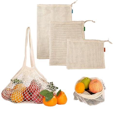 JZK 4 x Bolsas de Vegetales Reutilizables de algodón Bolsas ...