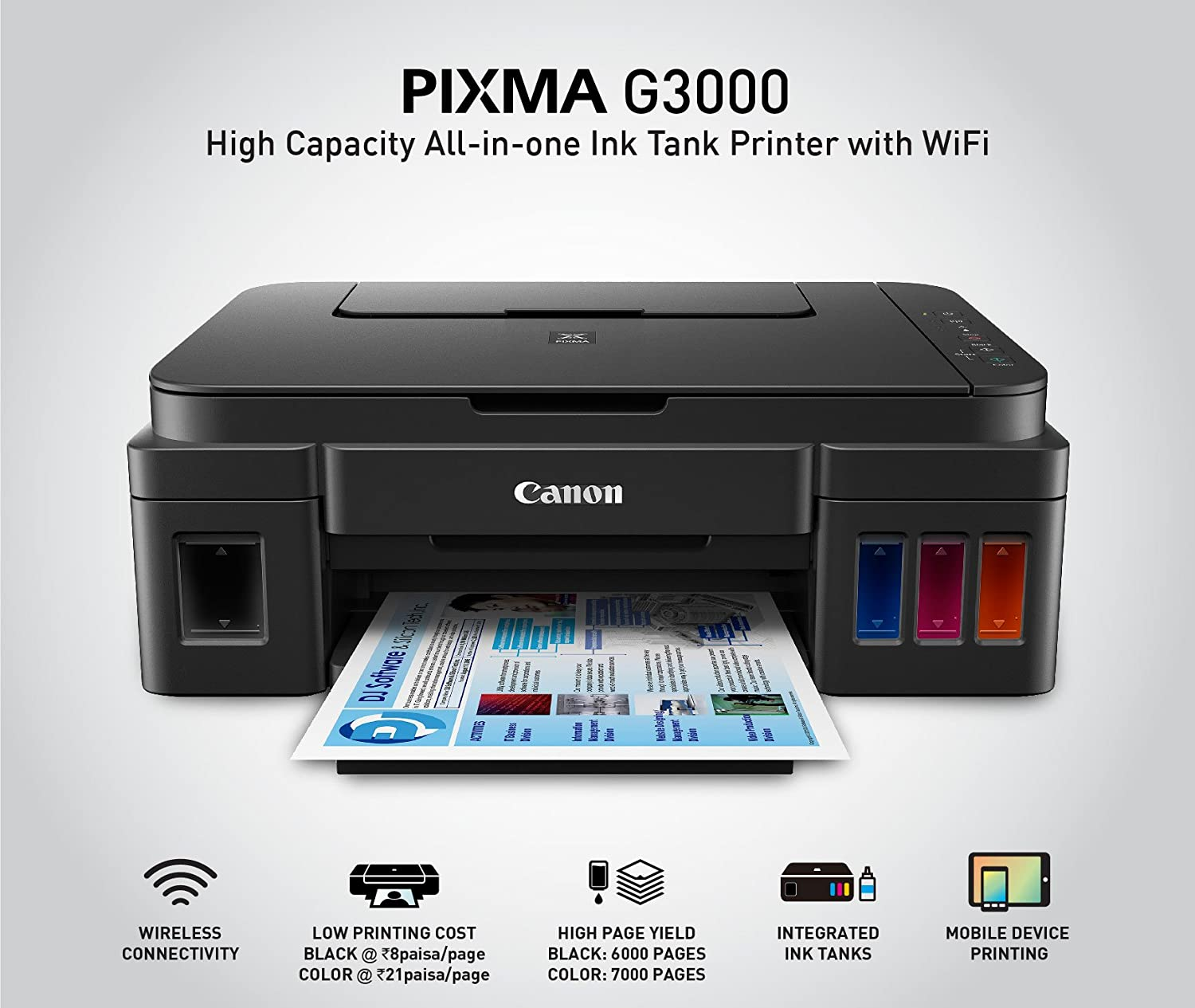 Amazonin Buy Canon Pixma G3000 All In One Wireless Ink Tank Colour Printer Online At Low Prices India