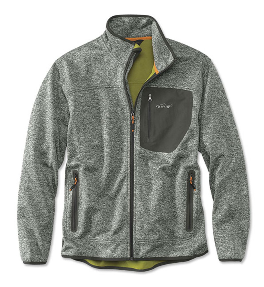 Orvis Men's Windproof Sweater Fleece Jacket, Light Gray, Large