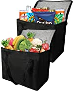 2 Insulated Reusable Grocery Bag with Zippered Top, XL, Large, Frozen