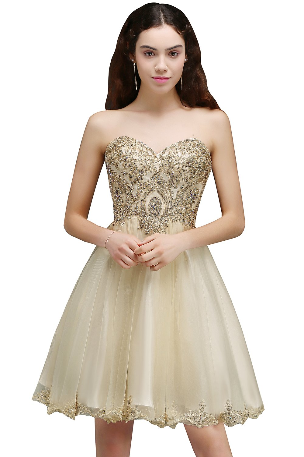 Babyonlinedress Sweetheart Lace Appliques Short Prom Homecoming Dresses 2017