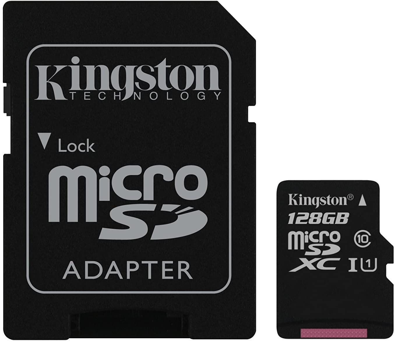 Kingston Digital 128GB microSDXC Class 10 UHS-I 45MB/s Read Card with SD Adapter (SDC10G2/128GB)