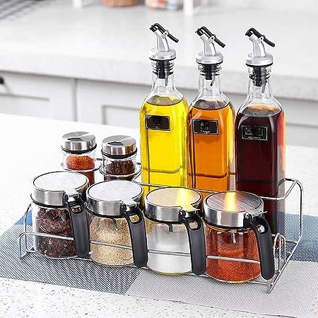 ZXvbyuff Condimento aceite de la caja de combinación Pot, especias condimento caja de botellas conjunto, la combinación de condimentos soporte estantes, sal Pot salsa ...