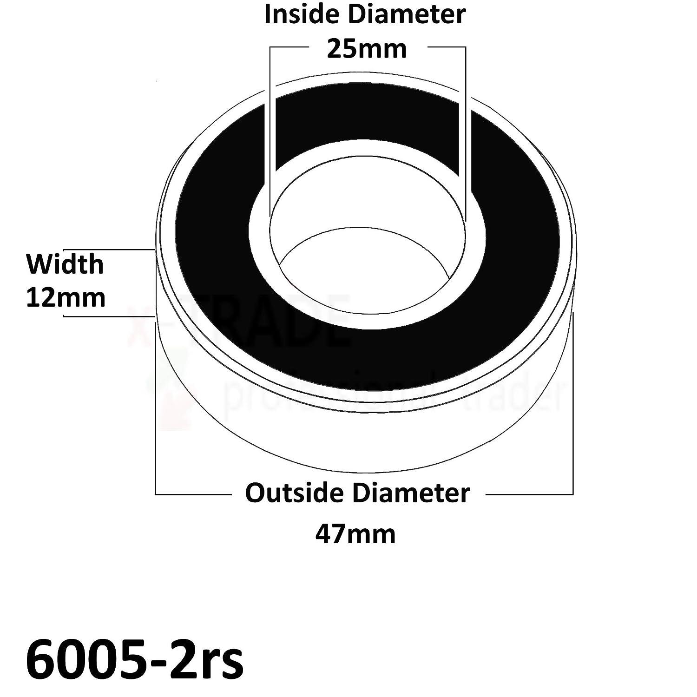 6000-2RS - 26mm x 10mm x 8mm Techwelt deep groove ball bearings