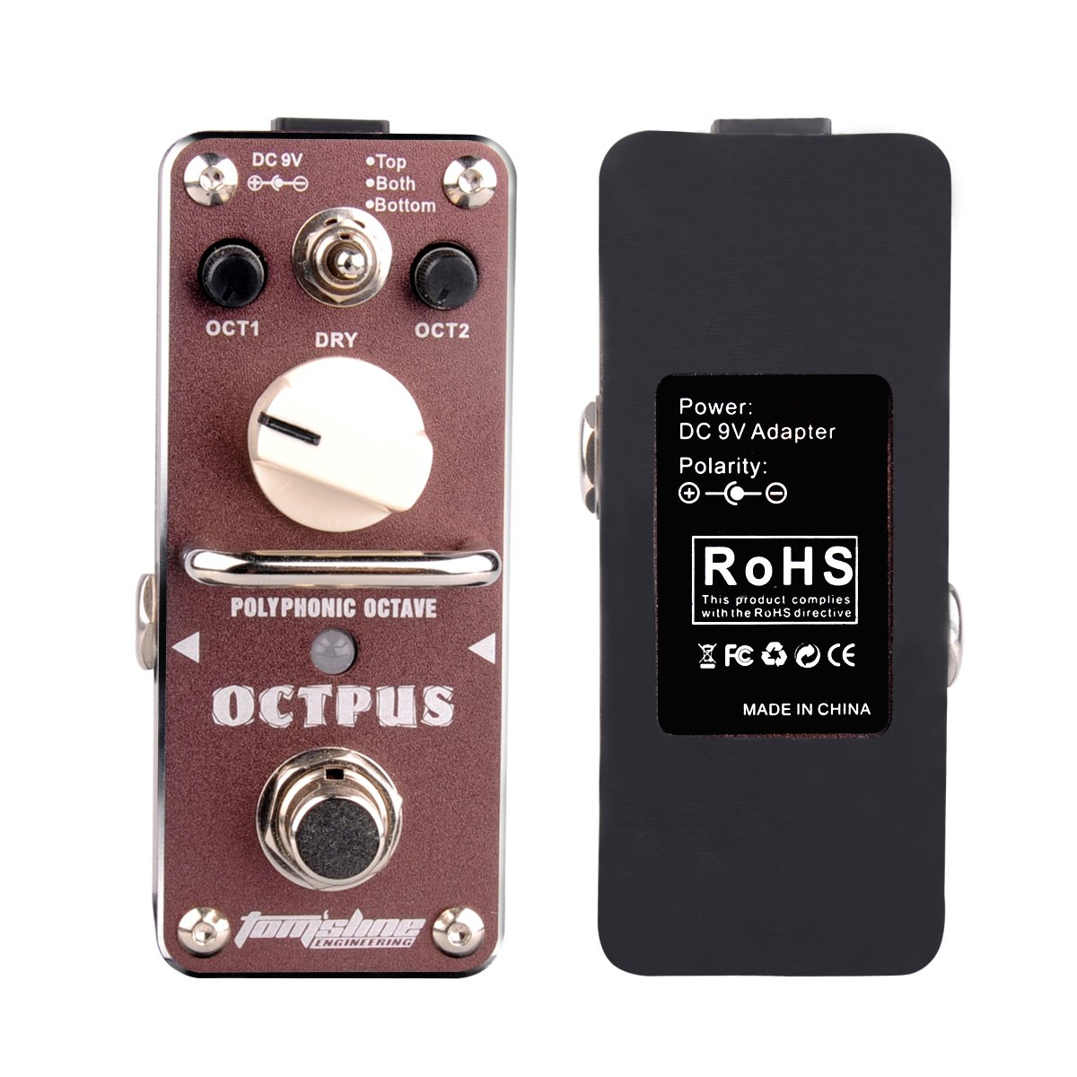 3 Mode Electric Guitar Single Effect Octave Pedal with True Bypass Footswitch Aluminum Alloy brown, by LC Prime MG057