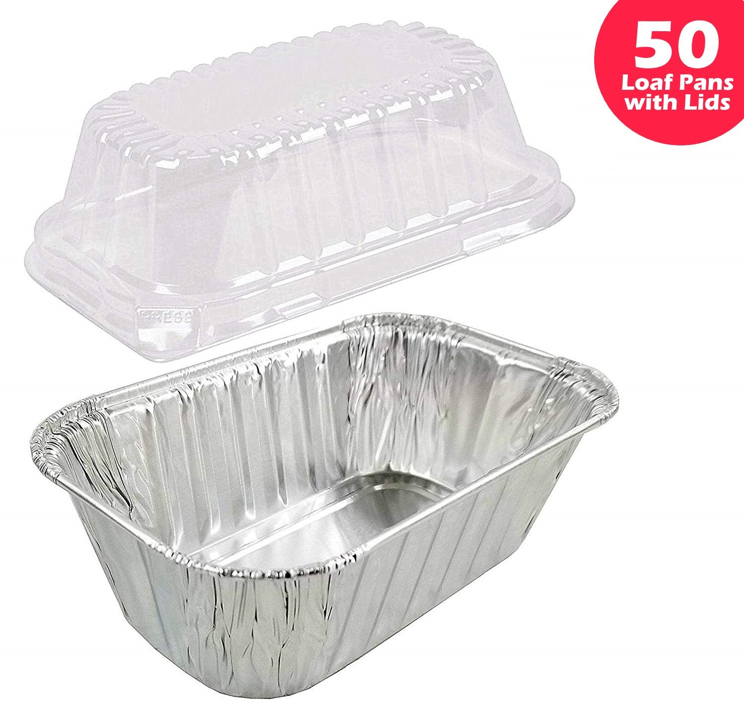 1 lb. Aluminum Foil Small Mini-Loaf Bread Pan w/Clear Dome Lid (Pack of 50 Sets) by Durable Packaging