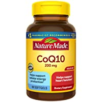 Nature Made CoQ10 200 mg Softgels, 80 Count Value Size for Heart Health† (Packaging May Vary)