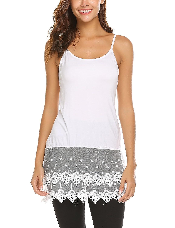 Ekouaer Nightgown,Womens Lace Loungewear Camisole Extender Bottom Cami Sleepwear Pajama **EKV006843