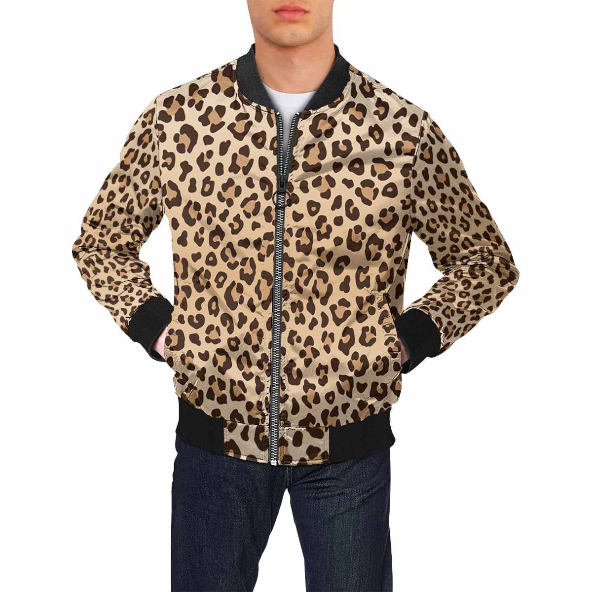 e765fa6bd692 INTERESTPRINT Leopard Animal Print Men's Active Lightweight Softshell  Zipper Bomber Jacket (XS-2XL) at Amazon Men's Clothing store: