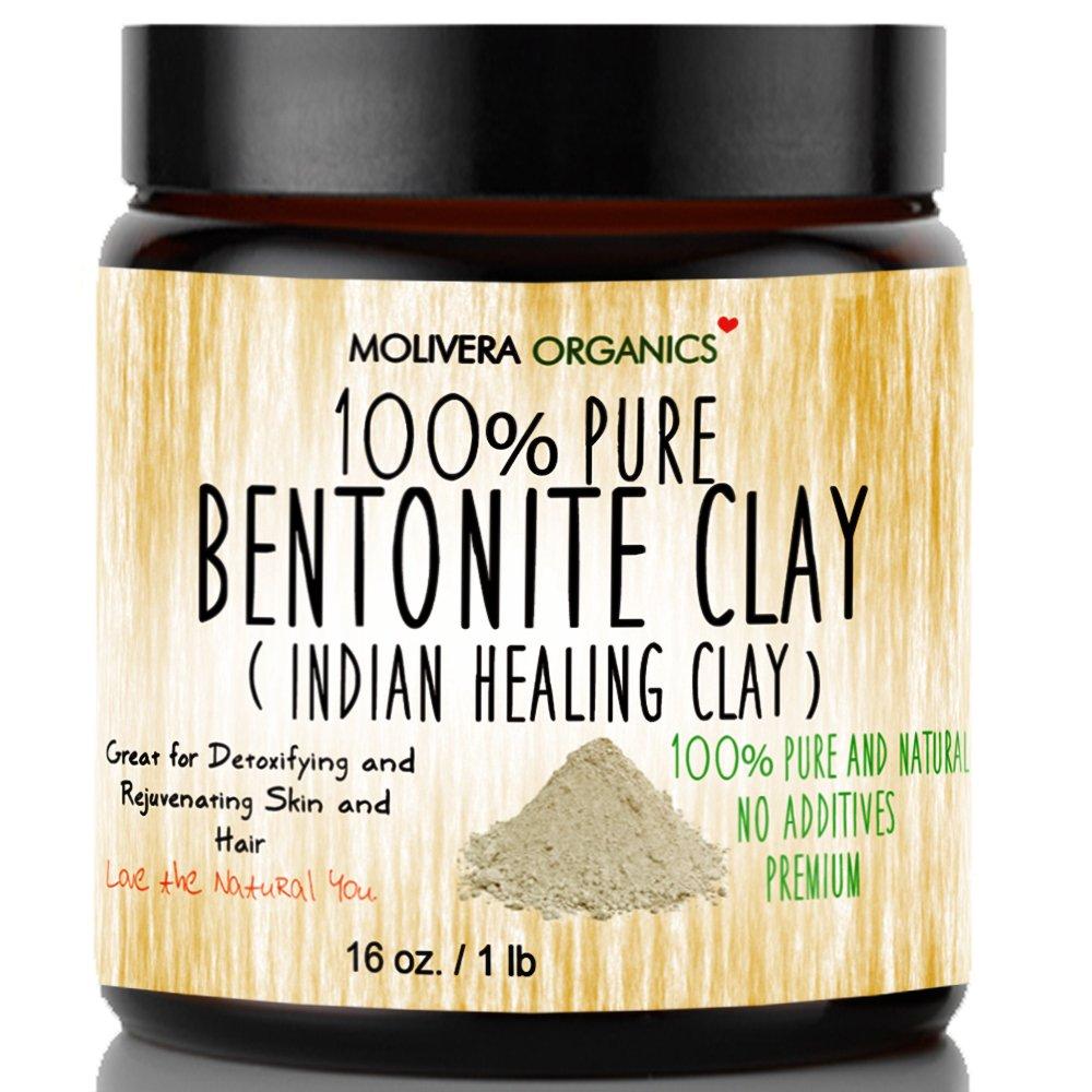 Molivera Organics Bentonite Clay for Detoxifying and Rejuvenating Skin and Hair, 16 oz. by Molivera Organics