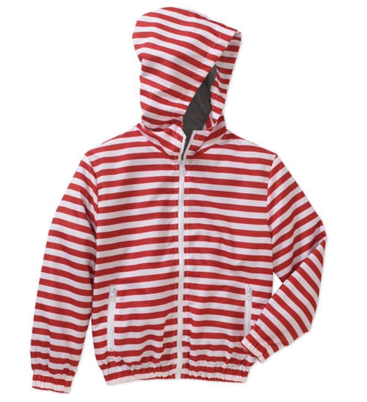 BOCINI Boys Lightweight Hooded Stripe Jacket, Size 10//12, Red