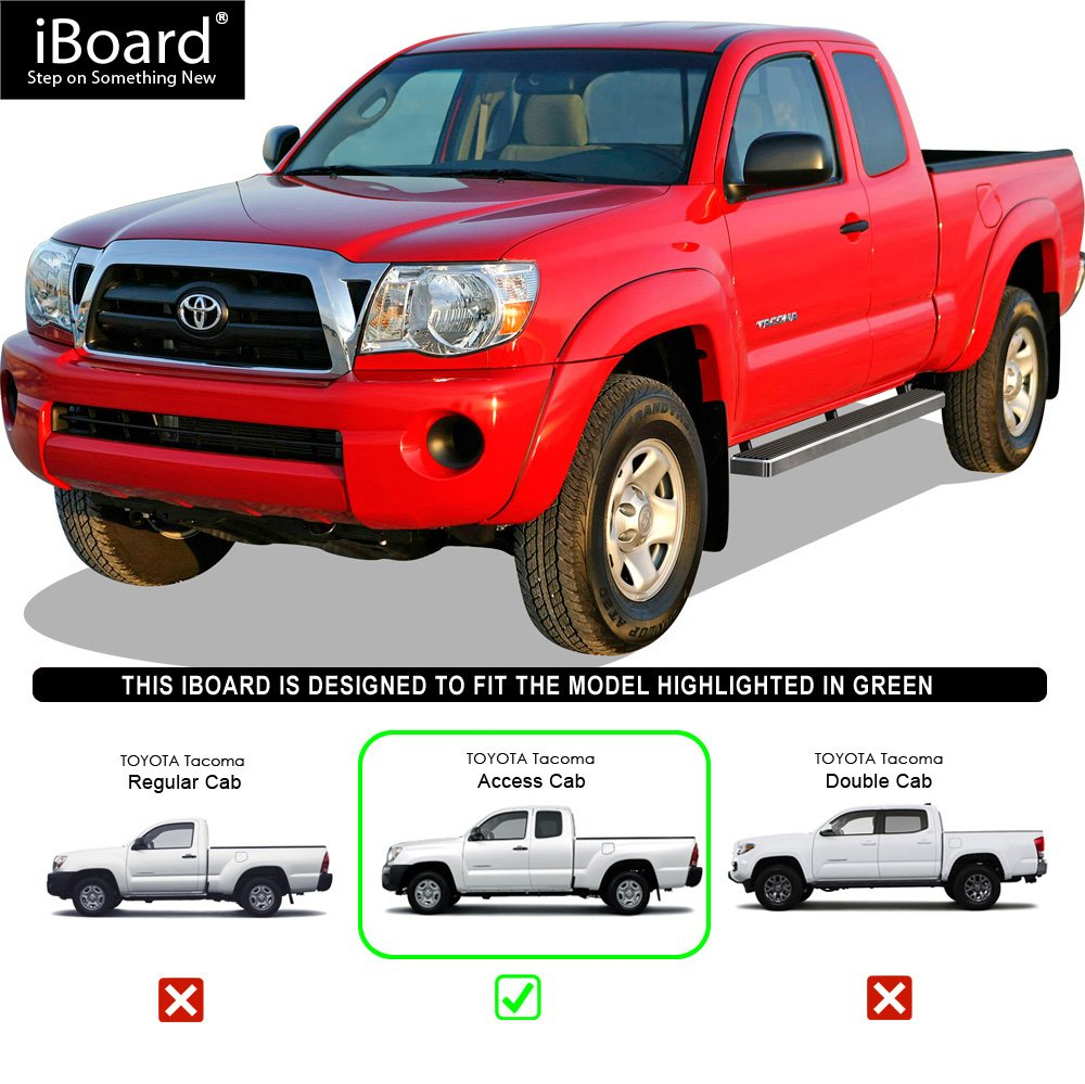 APS iBoard Running Boards 6 inches Custom Fit 2005-2020 Toyota Tacoma Access Cab Pickup Nerf Bars Side Steps Side Bars