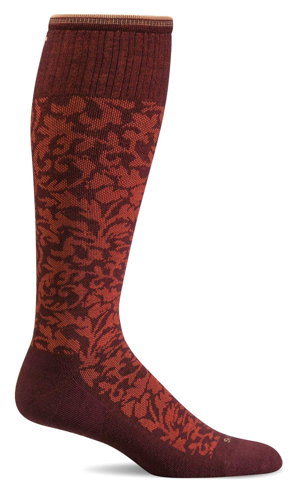 Sockwell Women's Damask Moderate Graduated Compression Sock, Port - S/M
